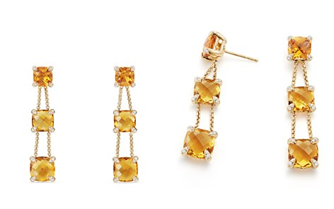 David Yurman Châtelaine Linear Chain Earrings with Citrine & Diamonds in 18K Gold - Bloomingdale's_2