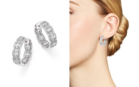 Bloomingdale's Diamond Round & Baguette Hoop Earrings in 14K White Gold, 2.0 ct. t.w. - 100% Exclusive_2