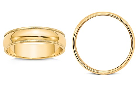 Bloomingdale's Men's 6mm Milgrain Half Round Wedding Band 14K Yellow Gold - 100% Exclusive_2