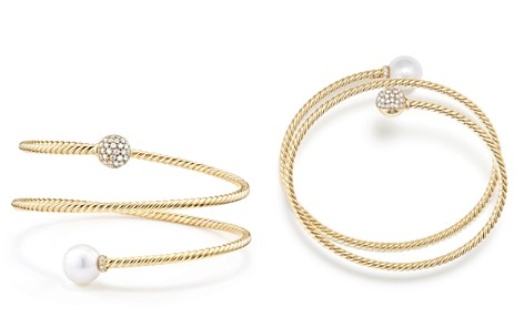 David Yurman Solari Coil Bracelet with Cultured Akoya Pearl and Diamonds in 18K Gold - Bloomingdale's_2