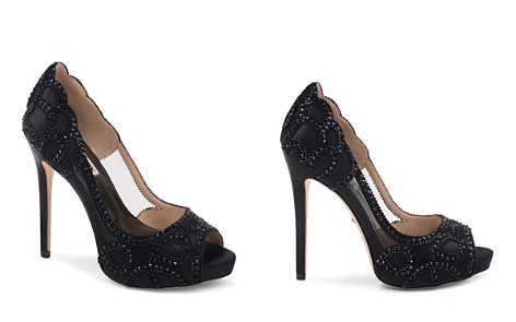 Badgley Mischka Women's Witney Embellished Satin & Mesh Platform High-Heel Pumps - Bloomingdale's_2