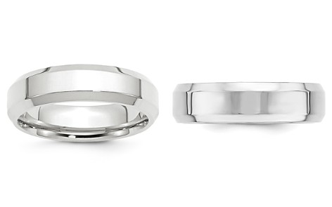 Bloomingdale's Men's 6mm Bevel Edge Comfort Fit Band in 14K White Gold - 100% Exclusive_2