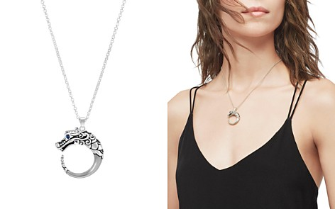 """John Hardy Brushed Sterling Silver Naga Pendant Necklace with Black Sapphire, Black Spinel and Blue Sapphire Eyes, 16"""" - Bloomingdale's_2"""