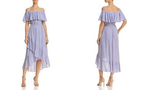 AQUA Ruffled Off-the-Shoulder Striped Dress - 100% Exclusive - Bloomingdale's_2