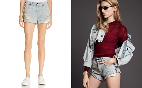 T by Alexander Wang Hike Cuffed Denim Shorts in Vintage Bleach - Bloomingdale's_2