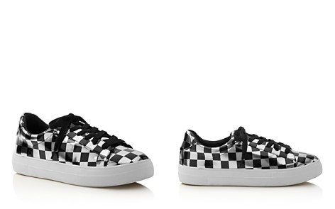 AQUA Women's Score Metallic Checkerboard Lace Up Sneakers - 100% Exclusive - Bloomingdale's_2