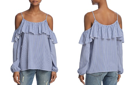 AQUA Ruffled Striped Cold-Shoulder Top - 100% Exclusive - Bloomingdale's_2