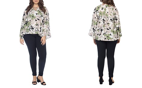 B Collection by Bobeau Curvy Dawn Floral-Print Bell-Sleeve Blouse - Bloomingdale's_2