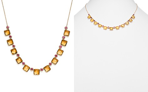 """Olivia B 14K Yellow Gold Faceted Citrine & Rhodolite Garnet Frontal Necklace, 15"""" - 100% Exclusive - Bloomingdale's_2"""