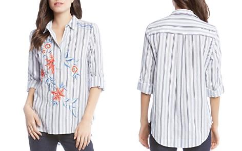Karen Kane Embroidered Stripe Henley Top - Bloomingdale's_2