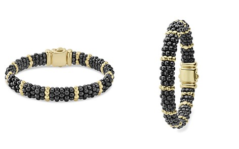 LAGOS Gold & Black Caviar Collection 18K Gold & Ceramic Beaded Ten Station Bracelet - Bloomingdale's_2