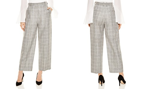 Sandro Hoviv Cropped Wide-Leg Plaid Pants - Bloomingdale's_2