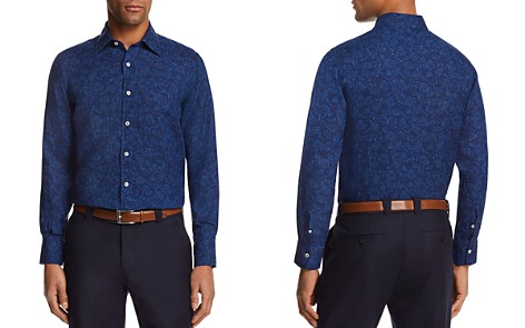 Canali Floral Motif Regular Fit Button-Down Shirt - Bloomingdale's_2