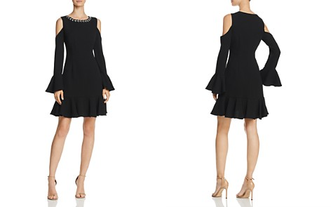 Eliza J Cold-Shoulder Flounce-Hem Dress - Bloomingdale's_2