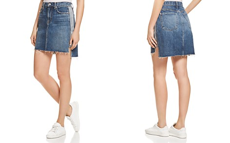 7 For All Mankind Contrast-Panel Denim Skirt in Mojave Dusk - Bloomingdale's_2