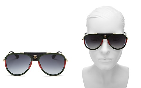 Gucci Women's Leather Tiger Logo Aviator Sunglasses, 57mm - Bloomingdale's_2