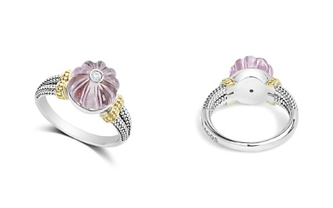 LAGOS 18K Gold & Sterling Silver Caviar Forever Diamond & Rose de France Amethyst Melon Bead Ring - Bloomingdale's_2