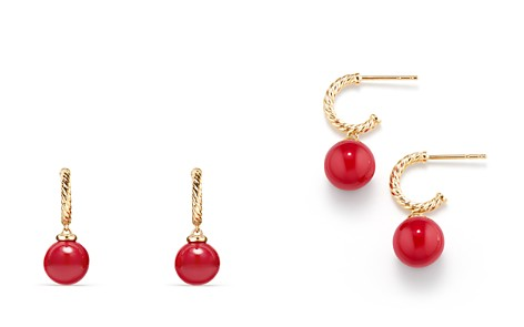 David Yurman Solari Hoop Earrings with Red Enamel in 18K Gold - Bloomingdale's_2