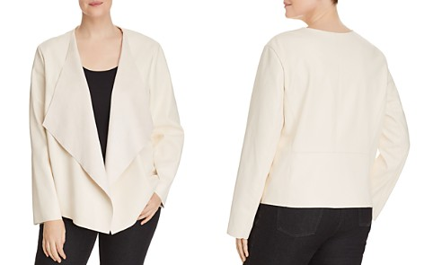 Bagatelle Plus Faux-Leather Draped Open-Front Jacket - Bloomingdale's_2