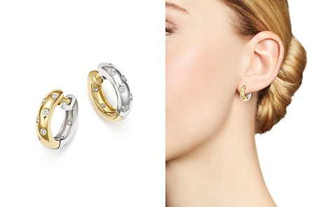 Bloomingdale's Diamond Reversible Huggie Hoop Earrings in 14K White & Yellow Gold, 0.33 ct. t.w. - 100% Exclusive _2