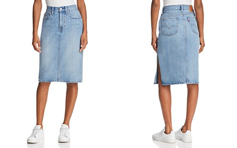 Levi's Slit Denim Skirt in Blue Waves - Bloomingdale's_2