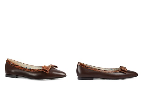 Gucci Women's Yva Leather & Snakeskin Bow Ballet Flats - Bloomingdale's_2