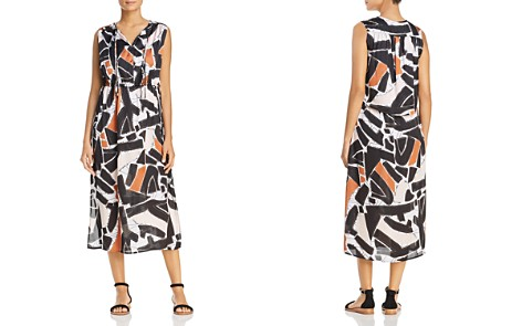 Kenneth Cole Triple Tie Neck Abstract Print Midi Dress - Bloomingdale's_2