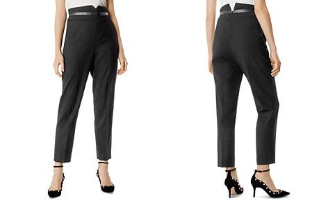 KAREN MILLEN Faux-Leather Trim Tapered Pants - Bloomingdale's_2