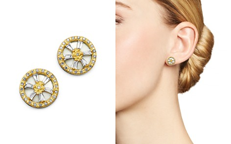 Armenta 18K Yellow Gold & Blackened Sterling Silver Old World Crivelli White Sapphire & Champagne Diamond Stud Earrings - Bloomingdale's_2