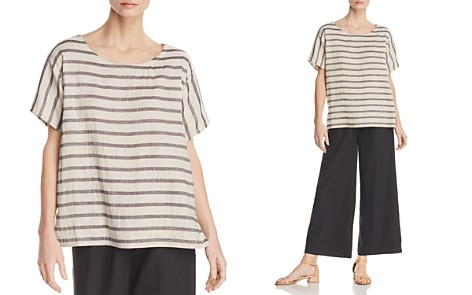 Eileen Fisher Striped Linen & Organic Cotton Top - Bloomingdale's_2