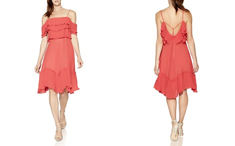 HALSTON HERITAGE Cold-Shoulder Pleated Ruffle Dress - Bloomingdale's_2