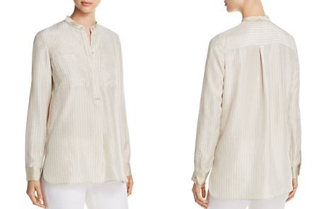 Lafayette 148 New York Polina Silk Pinstripe Henley Blouse - 100% Exclusive - Bloomingdale's_2