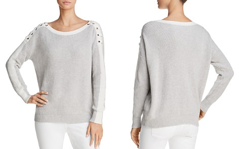 Minnie Rose Lace-Up Shoulder Sweater - Bloomingdale's_2