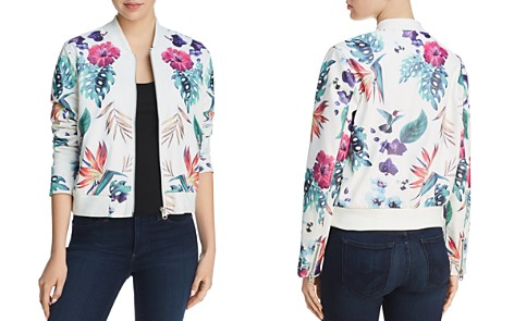 AQUA Botanical Faux Leather Bomber Jacket - 100% Exclusive - Bloomingdale's_2