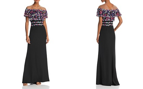 Tadashi Shoji Illusion-Off-the-Shoulder Embroidered Gown - Bloomingdale's_2