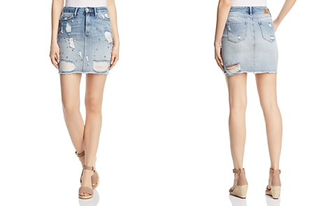 Mavi Frida Destructed Denim Skirt in Light Ripped Pearl - Bloomingdale's_2