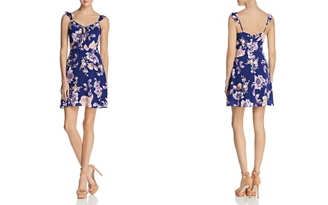 JOA Tie Detail Floral Print Dress - Bloomingdale's_2