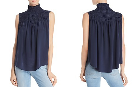 FRAME Smocked Silk Swing Top - Bloomingdale's_2