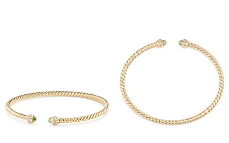 David Yurman Cable Spira Bracelet in 18K Gold with Peridot & Diamonds - Bloomingdale's_2
