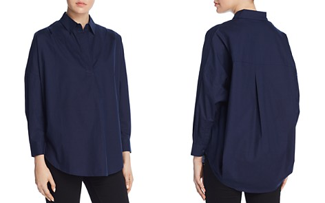 FRENCH CONNECTION Rhodes Oversize V-Neck Poplin Shirt - Bloomingdale's_2