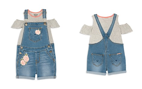 Hudson Girls' Striped Cold-Shoulder Tee & Rose-Patch Overalls Set - Baby - Bloomingdale's_2