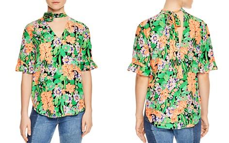 Sandro Reda Floral-Print Silk Choker Top - Bloomingdale's_2