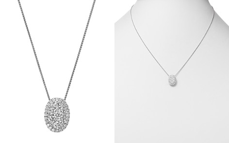 Bloomingdale's Diamond Cluster Halo Oval Pendant Necklace 14K White Gold, 1.0 ct. t.w. - 100% Exclusive _2