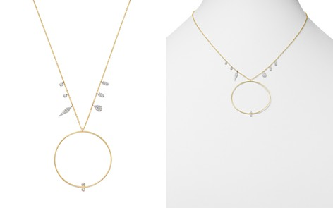 """Meira T 14K White Gold & Yellow Gold Open Circle Diamond Necklace, 16"""" - Bloomingdale's_2"""