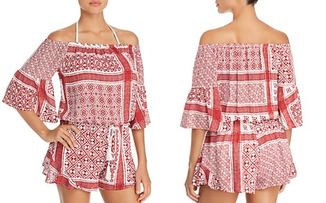 Surf Gypsy Bandana Print Off-the-Shoulder Romper Swim Cover-Up - Bloomingdale's_2
