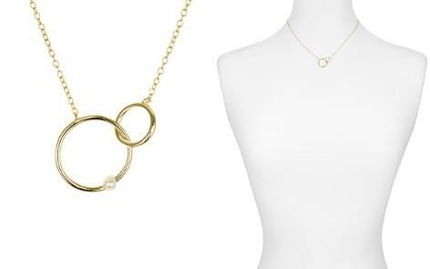 "AQUA Interlocking Rings & Pearl 18K Gold-Plated Sterling Silver Necklace, 15"" - 100% Exclusive - Bloomingdale's_2"