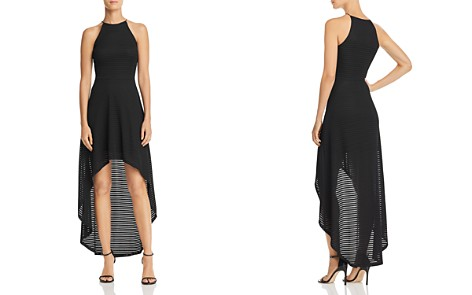 AQUA Striped Mesh High/Low Dress - 100% Exclusive - Bloomingdale's_2
