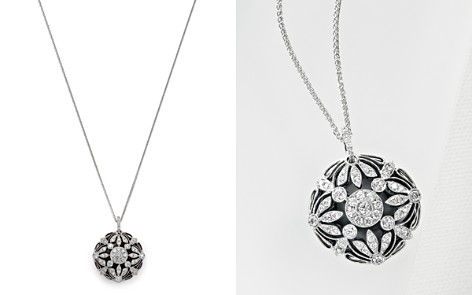 Floral Diamond/Onyx Pendant Necklace in 14 Kt. White Gold - Bloomingdale's_2