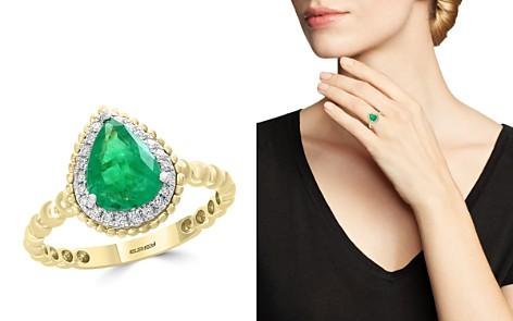 Bloomingdale's Emerald & Diamond Beaded Teardrop Ring in 14K White & Yellow Gold - 100% Exclusive _2