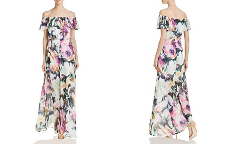 Betsey Johnson Floral Chiffon Off-the-Shoulder Maxi Dress - Bloomingdale's_2